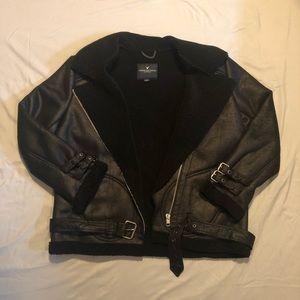 Oversized sherpa motorcycle jacket